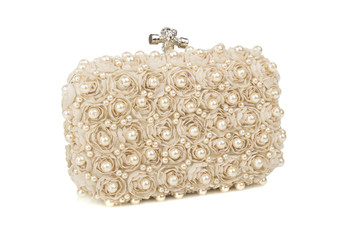 beige handbag clutch