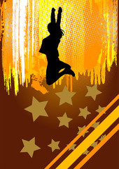 Woman Dance and jumping with yellow grunge background