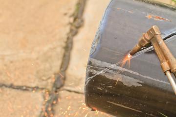 Gas cutting torch.