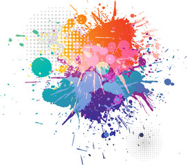 splatters colorful background  and halftone pattern