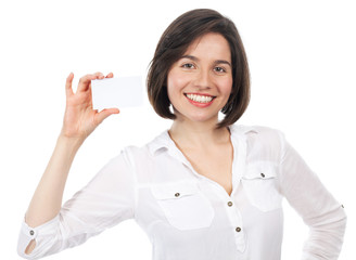 Smiling woman showing a white business card