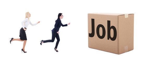 job search concept - running business women isolated on white