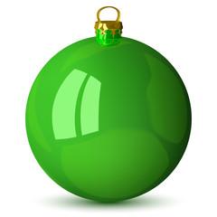 Vector green Christmas ball isolated