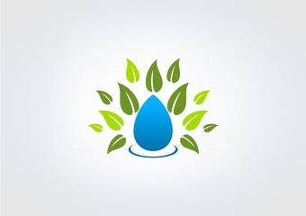 Leaf Water Drop Herbal gren logo icon symbol vector.zip