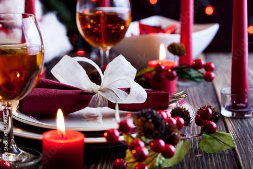 Christmas dishware on the table - 71488493