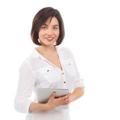 Pretty young woman using an electronic tablet