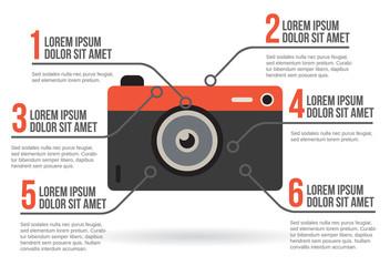 Photographic camera infographic, vector illustration