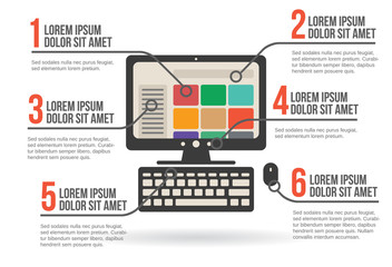 Personal computer infographic, vector illustration