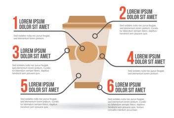 Paper coffee cup infographic, vector illustration