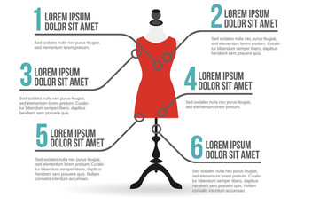 Mannequin in dress infographic, vector illustration
