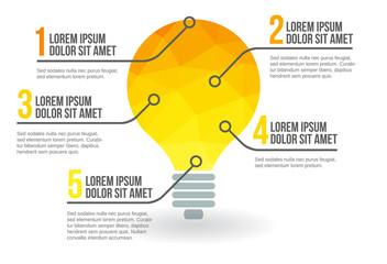 Idea light bulb infographic, vector illustration