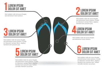 Flip-flops infographic, vector illustration