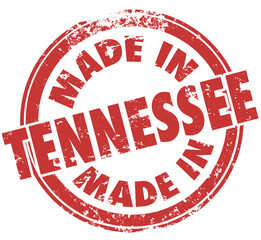 Made in Tennessee TN Words Red Round Stamp State Pride
