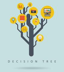 Decision tree infographic diagram, vector illustration