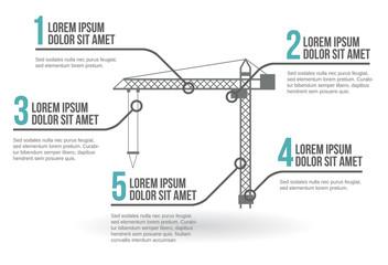 Crane infographic vector illustration
