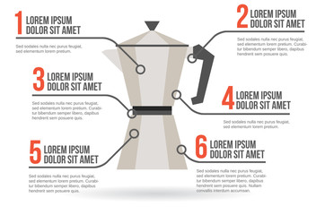 Coffee percolator infographic, vector illustration