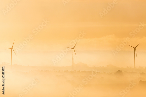 Wind turbines infog and morning light