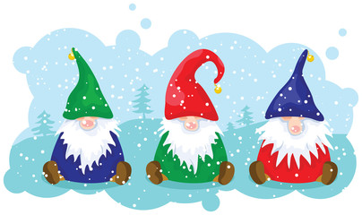 Three Christmas dwarfs sitting on the snowy landscape