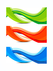 colorful wave banner set