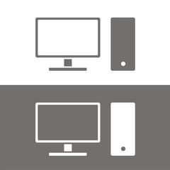 Icono ordenador sobremesa BN