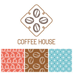 Vector set of coffee logos and icons