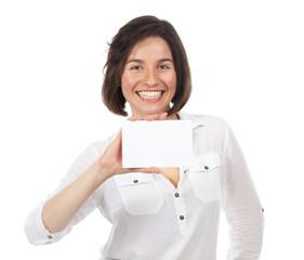 Happy woman showing a blank signboard