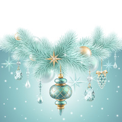Christmas garland, hanging ornaments, holiday background