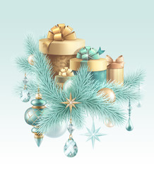 Christmas gifts holiday illustration, holiday background