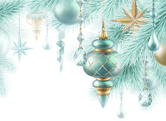 Christmas background, hanging balls and stars ornaments