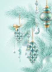 Christmas tree ornaments, holiday background illustration