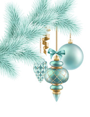 Christmas tree ornaments and decoration, holiday illustration