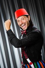 Funny man wearing hez hat