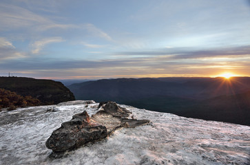 Sunset Wentworth Falls Blue Mountains Australia