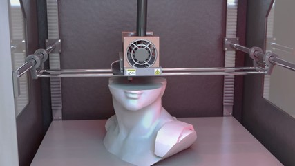 David's Head printed by 3D Printer // 3D Visualization