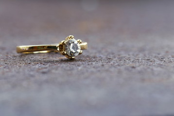 gold ring with diamond  macro shot