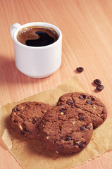 Cup of coffee and cookies