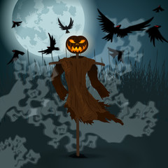 Halloween illustration with evil scarecrow, full Moon and crows