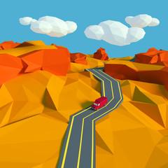 Kleine Landschaft mit Straße in der Wüste
