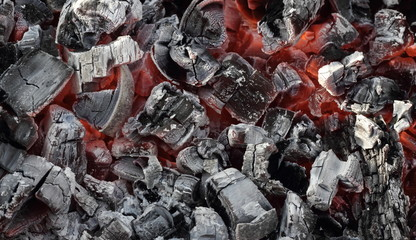 Hot live charcoal extreme closeup