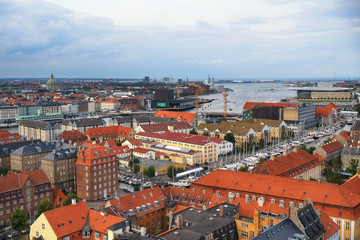 The bird's eye view from the Church of Our Saviour on Copenhagen