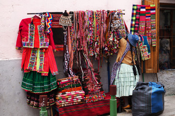 Street Vendor selling colorful clothing in La Paz, Bolivia