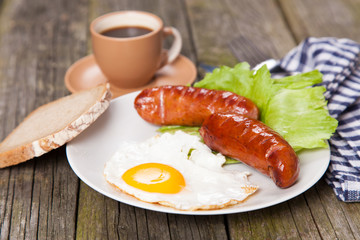 Breakfast plate with sausages and eggs