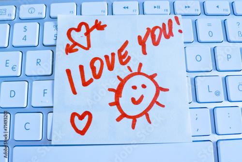 canvas print picture Notiz auf Computer Tastatur: I love you