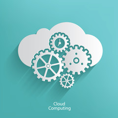 Cloud computing symbol on blue background,clean vector