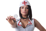 Portrait of sexy unsmiling nurse with stethoscope