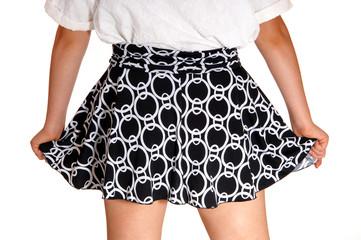 Closeup of girls skirt.