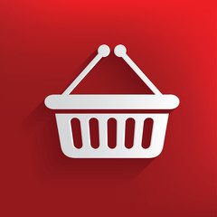 Shopping symbol on red background,clean vector