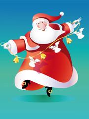 vector_santa claus dancing