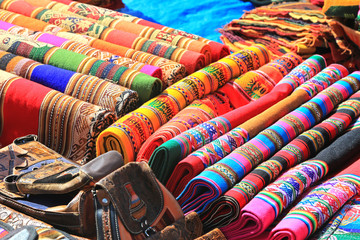 Colorful Cloth in local market of Peru