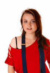 Young girl with suspender.
